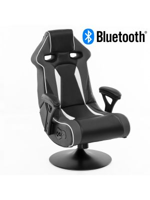 24Designs Silverstone - Racestoel Gamestoel Rocker - Bluetooth & Speakers - Zwart / Grijs