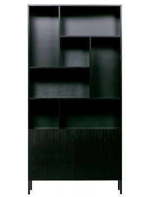 WOOOD Gravure Hoge Kast - B100 x D37 x H200 cm - Grenen Zwart