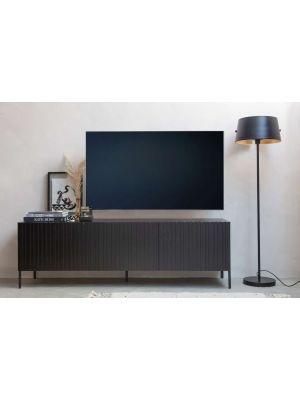 WOOOD Gravure Tv-Meubel - B180 x D46 x H56 cm -  Zwart Grenen Hout
