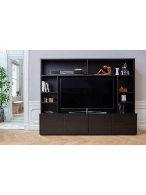WOOOD Maxel TV-Wandmeubel - B215 x D44 x H171 cm - Grenen Diep Mat Zwart