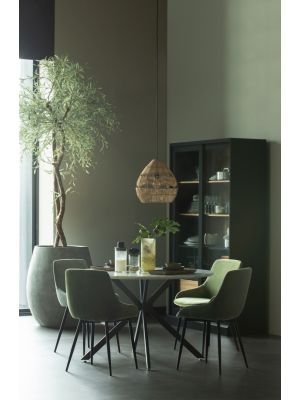 WOOOD Selin Velvet Eetkamerstoel - Set van 2 - Fluweel Bleekgroen - Zwarte Metalen Poten