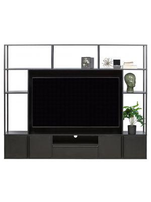 WOOOD TOBY TV-Wandmeubel - B200 x D35 x H160 cm - Zwart Metaal en MDF