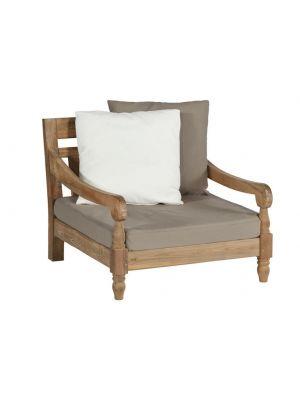 Exotan Kawang 1-persoons Loungestoel – Teakhout – Taupe Kussens