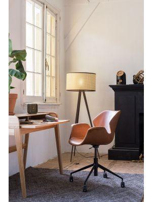 Zuiver Bureaustoel Nikki - Bruine zitkuip - Vintage Kunstleer - Zwarte Kruispoot met Wielen