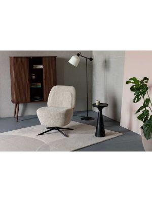 Zuiver Dusk Draaibare Lounge Fauteuil - Stof Zandkleur - Zwart Metalen Poten