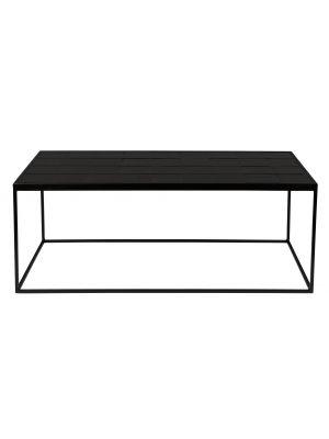 Zuiver Glazed Salontafel - Zwart Keramiek Tafelblad - Zwart Metalen Frame