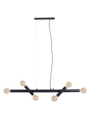 Zuiver Hawk Hanglamp Wide 6-Lichts - B123,5 x D17 x H155 cm - Mat Zwart Metaal