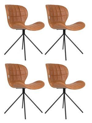 Zuiver OMG LL Stoelen Cognac Bruin - Kunstleer - Set van 4 Aanbieding - NU met Gratis vloerdoppen