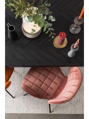 Zuiver OMG Velvet Stoel - Fluweel Poeder Roze - Set van 2 stoelen