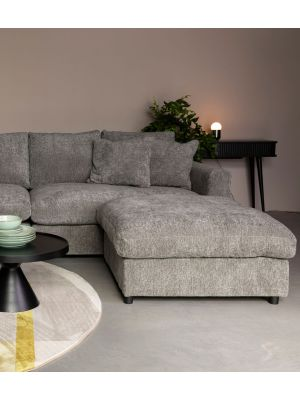 Zuiver Sense Hocker - B92 x D92 x H47 cm - Stof Grey Soft - Grijs