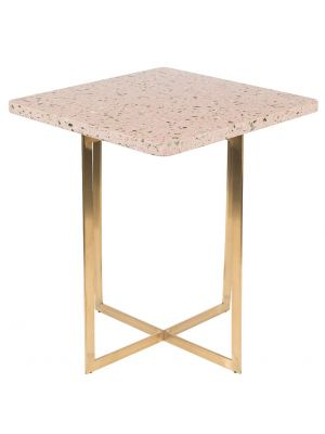 Zuiver Luigi Vierkante Bijzettafel - 40x40x45 cm - Roze Terrazzo - Goudkleurig Onderstel