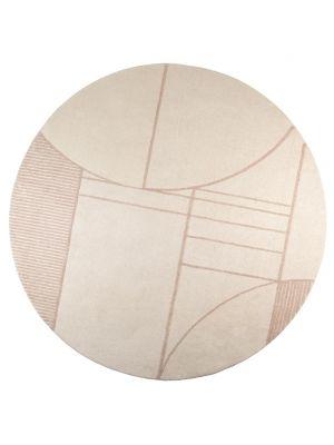 Zuiver Bliss Rond Vloerkleed - Diameter 240 cm - Stof Naturel/Roze