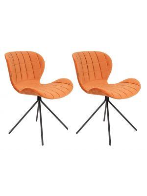Zuiver OMG Velvet Stoel - Fluweel Oranje - Set van 2 stoelen