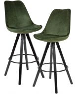 24Designs XAM Barkruk - Set van 2 - Zithoogte 75 cm - Groen Fluweel - Houten Poten Zwart