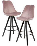 24Designs XAM Barkruk - Set van 2 - Zithoogte 75 cm - Roze Fluweel - Houten Poten Zwart