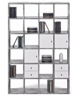 TemaHome Boekenkast Pombal Comp 2010-001 - B151 x D34 x H224 cm - Grijs Betonlook