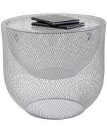 Kare Design Grid Salontafel - Ø50x46.5 cm - Glazen Tafelblad - Zilver