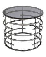 Kare Design Saturn Ronde Bijzettafel Ø60cm - Glazen tafelblad - Zwart Metaal