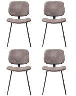 Kare Design Barber Stoel - Set van 4 - Bruin Kunstleer - Zwarte Gepoedercoat Metalen Poten