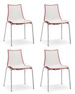SCAB Bicolore Stoel - Set van 4 - Rood/Wit - 4-Poots Chroom