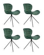 Zuiver OMG Velvet Stoel Groen *Limited Edition* - Set van 4 Aanbieding - met Gratis vloerdoppen twv. €34,95