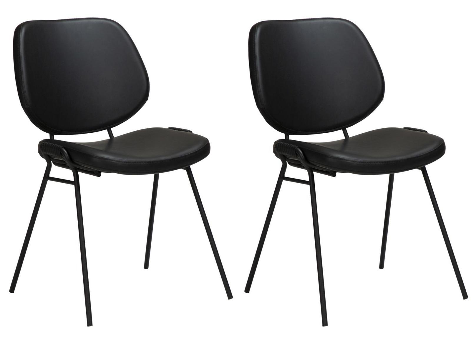 Dan-Form Yeet Stoel - Set Van 2 - Kunstleer Zwart - Zwart Metalen Poten
