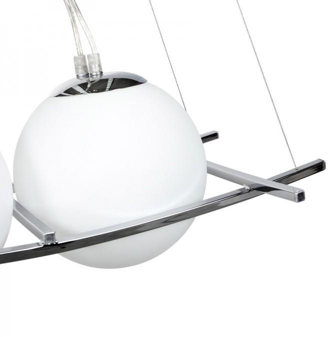 24Designs Hanglamp Rigel - 4 Witte Glazen Bollen - Chroom