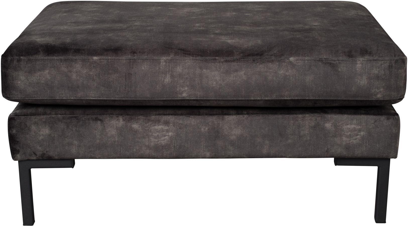 Ducthbone Houda Hocker - Fluweel Antraciet - Zwart Metalen Poten