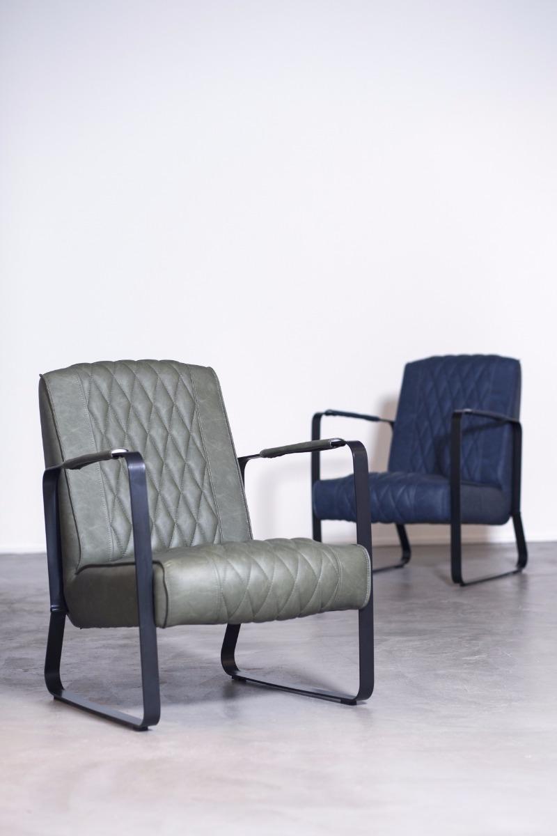 Eleonora Fauteuil Caro - Kunstleer - Vintage Blauw
