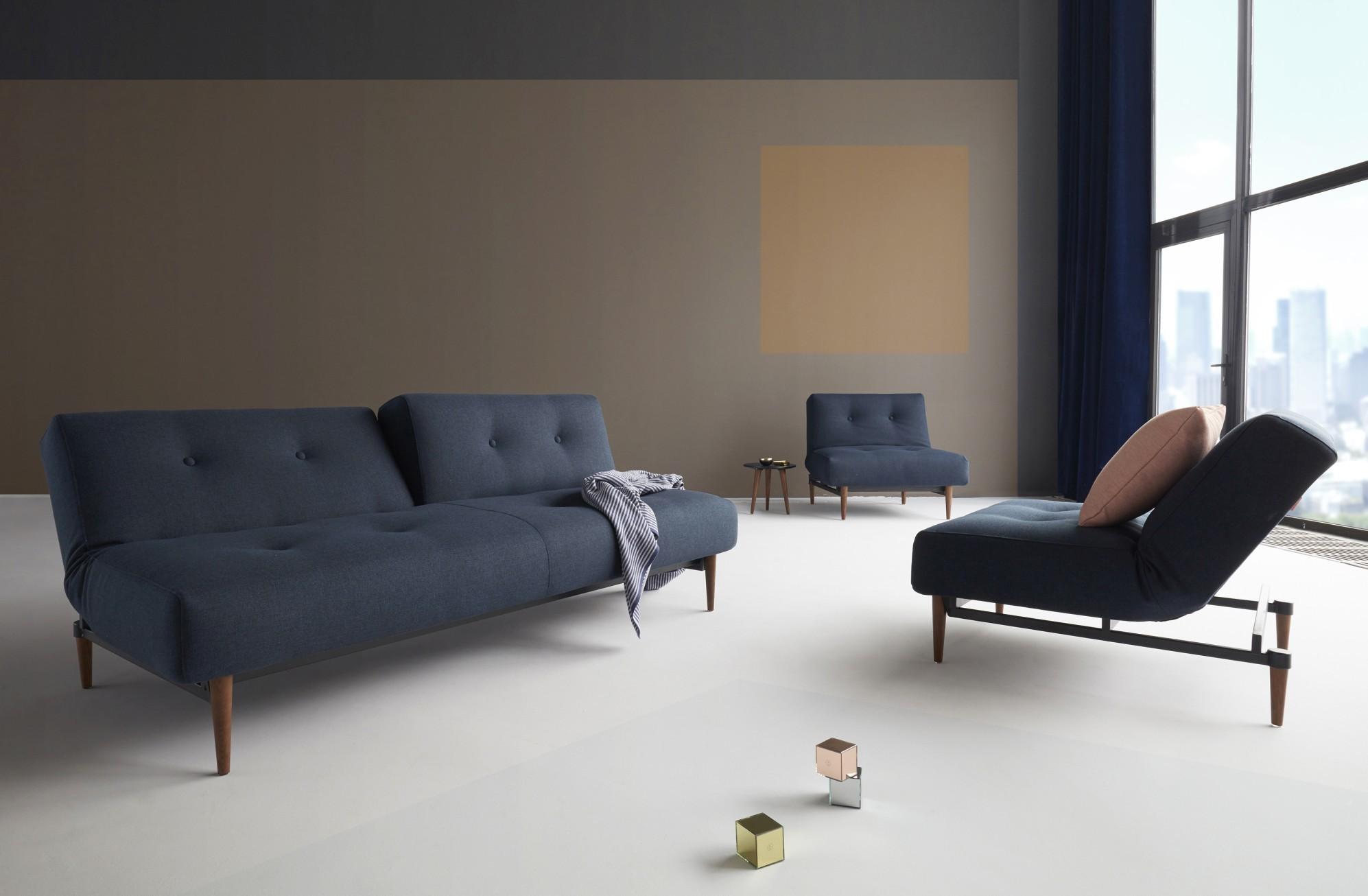 Innovation Slaapbank Ample - Styletto Poten Donker - Mixed Dance 528 - Blauw