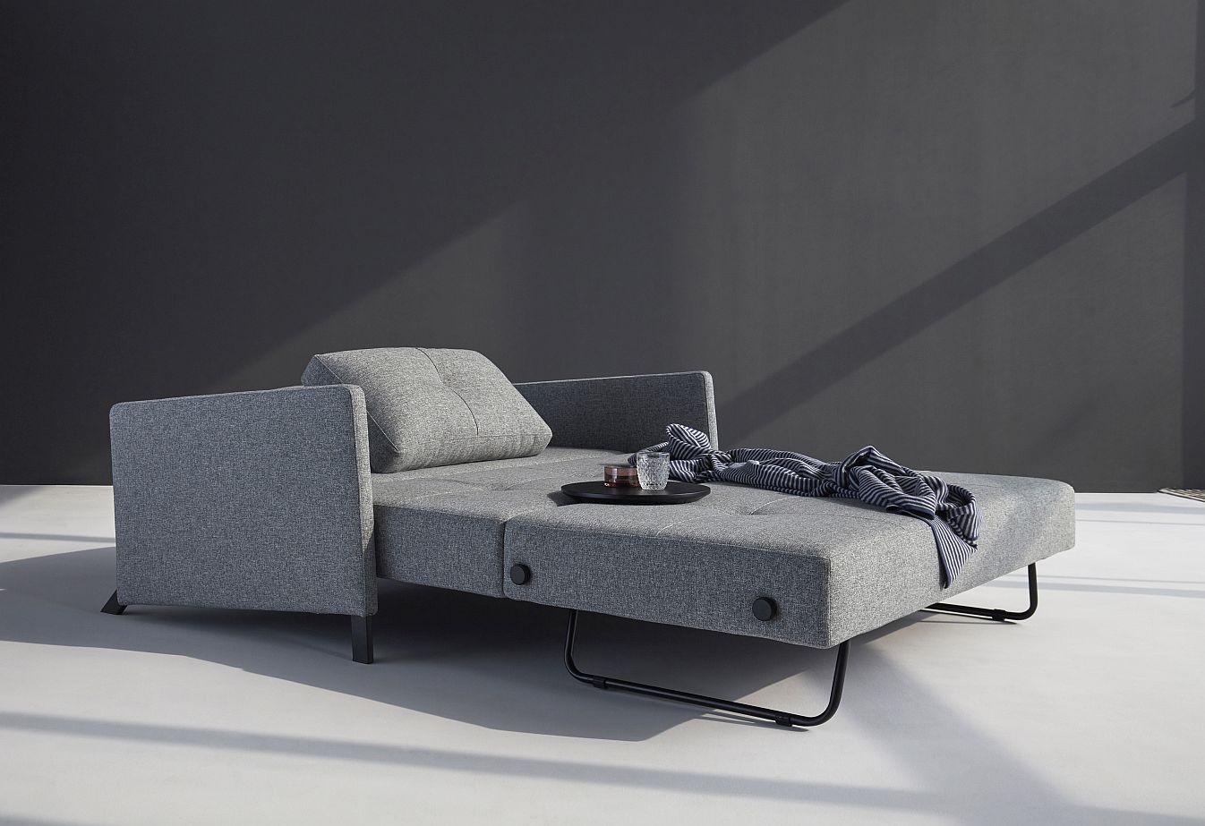 Innovation Slaapbank Cubed 160 Armleuningen - Twist 565 Grijs