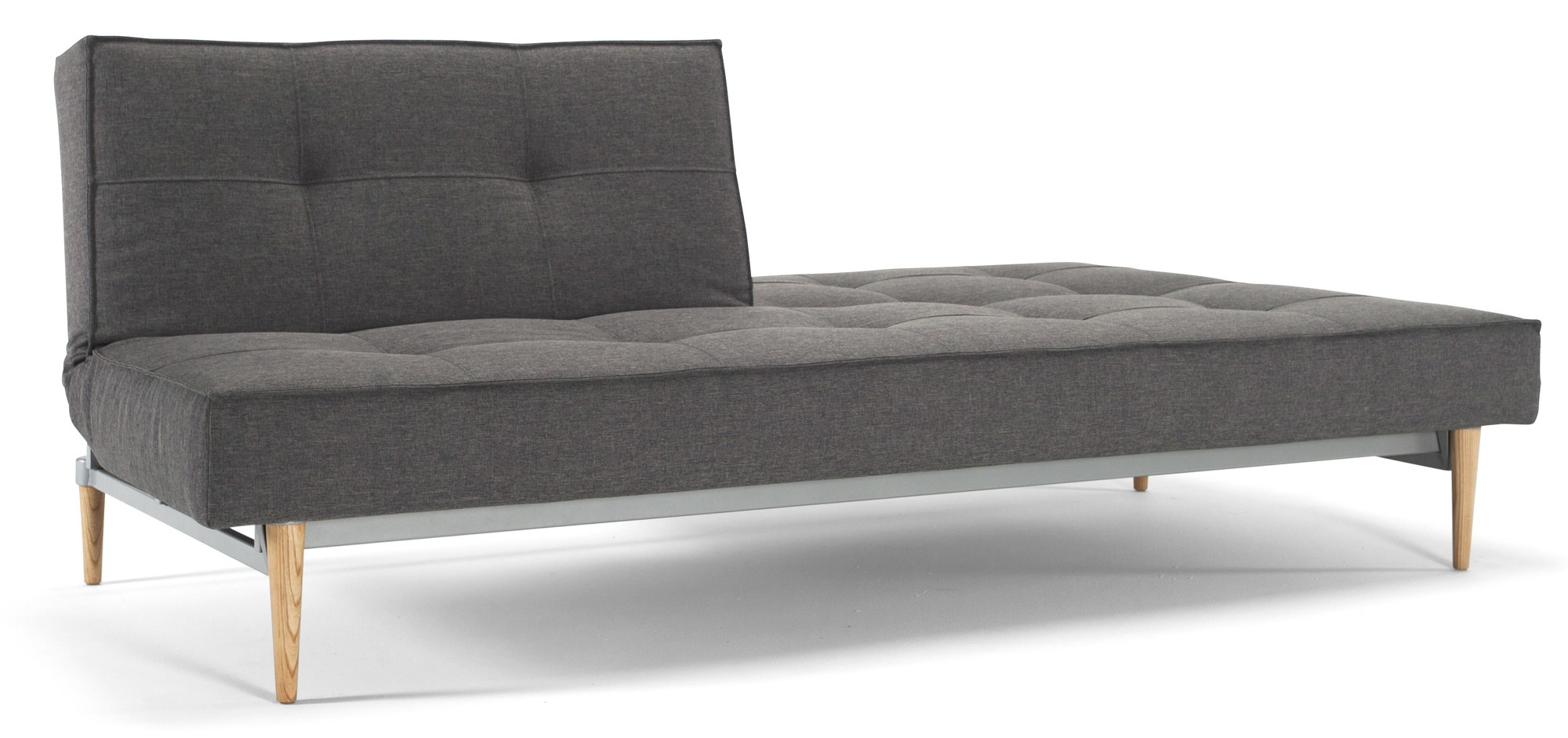 Innovation Slaapbank Splitback - Flashtex Dark Grey 216 - Styletto Poten Licht