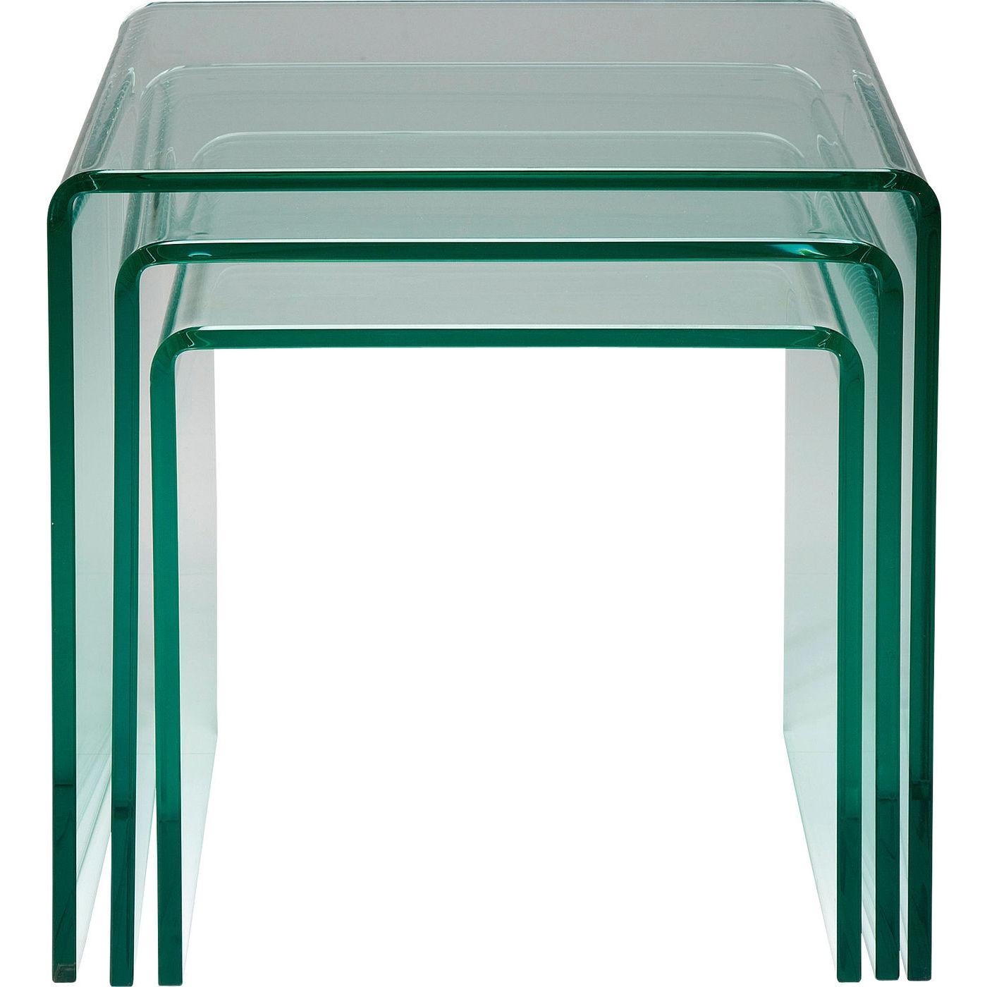 Kare Design Set 3 Bijzettafels - Clear Club - Glas