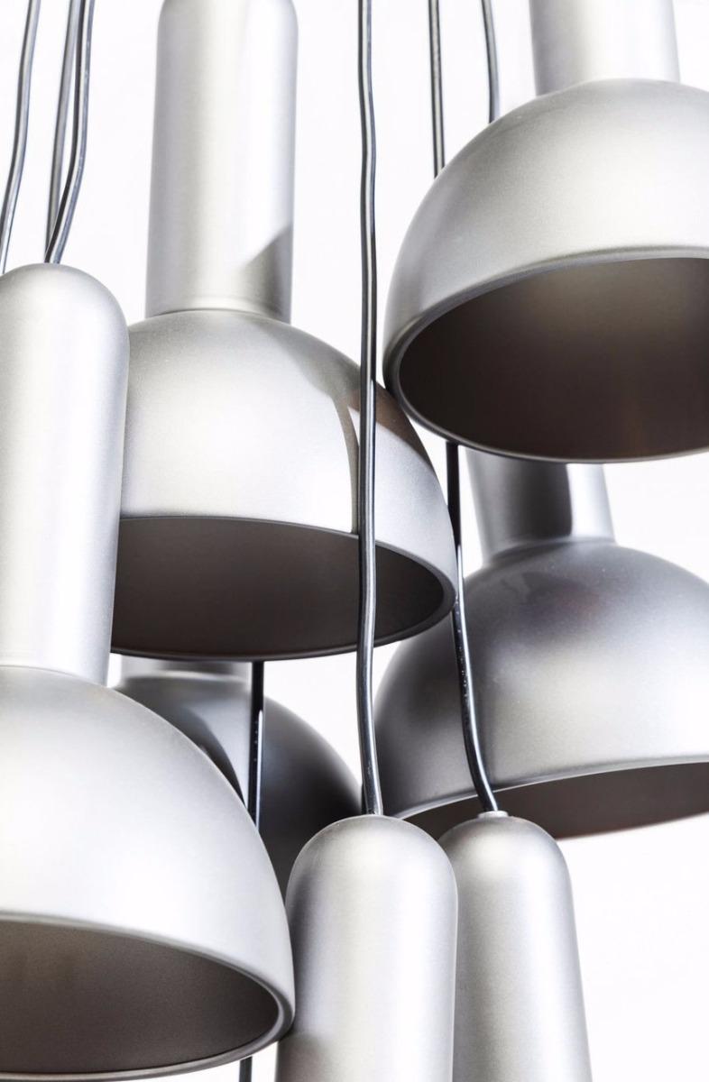 Kare Design Verstelbare Hanglamp Cappello 10-LichtsØ18 X H24 Cm - Zilver