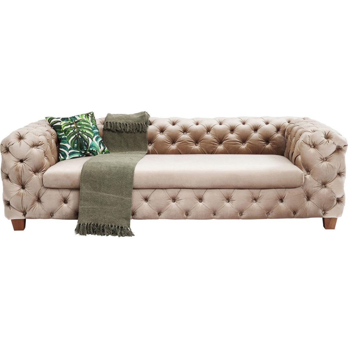 Kare Design My Desire Velvet 3-Zits Bank - 245 Cm - Ecru / Beige Fluweel