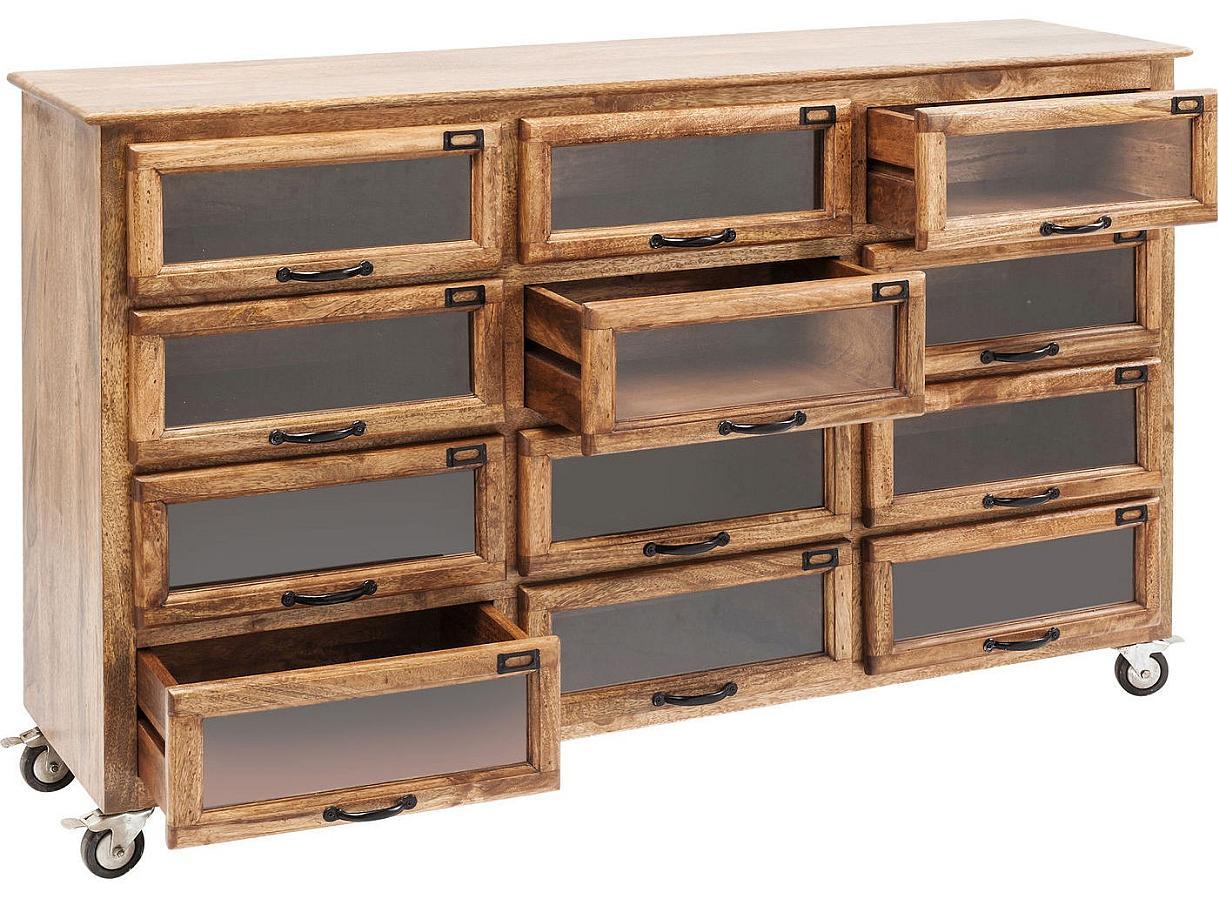Kare Design - Drugstore Dressoir - 12 Lades - 150x41x95 - Mangohout