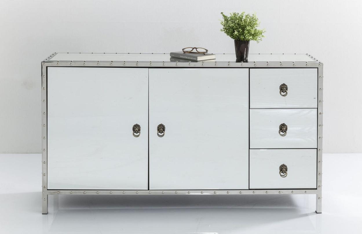 Kare Design Dressoir Rivet - L140 X B35 X H80 Cm - Wit