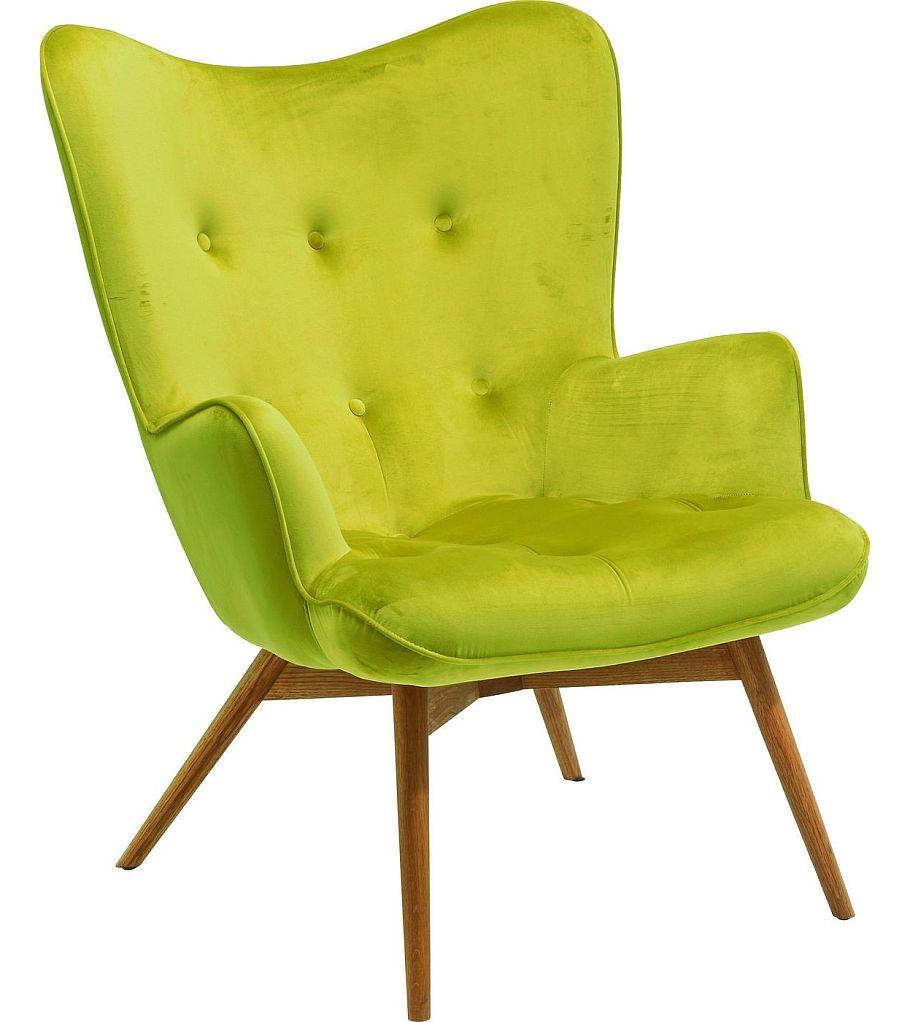 Kare Design Fauteuil Vicky - Fluweel Groen - Houten Poten