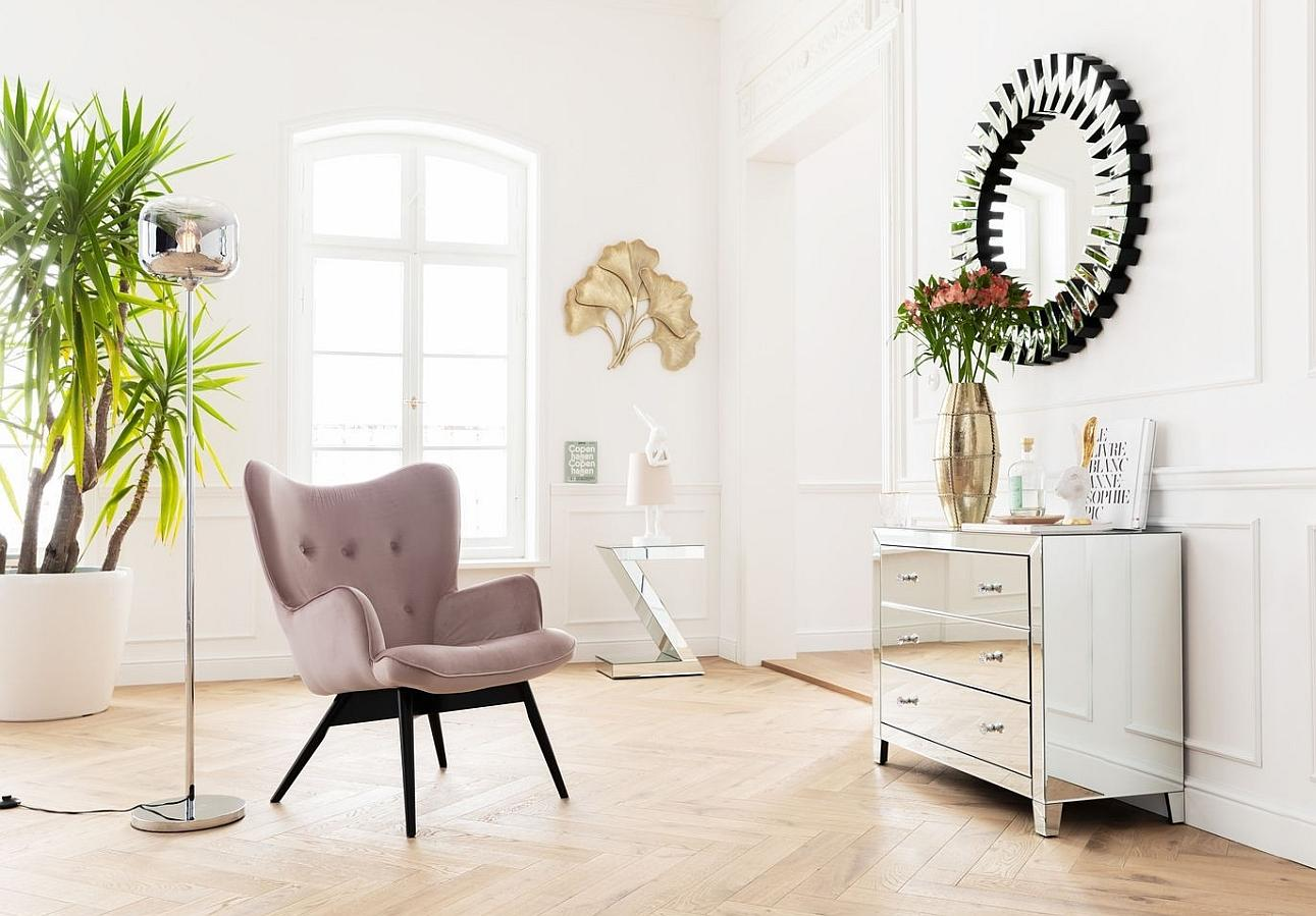 Kare Design Fauteuil Vicky - Fluweel Roze - Zwarte Houten Poten