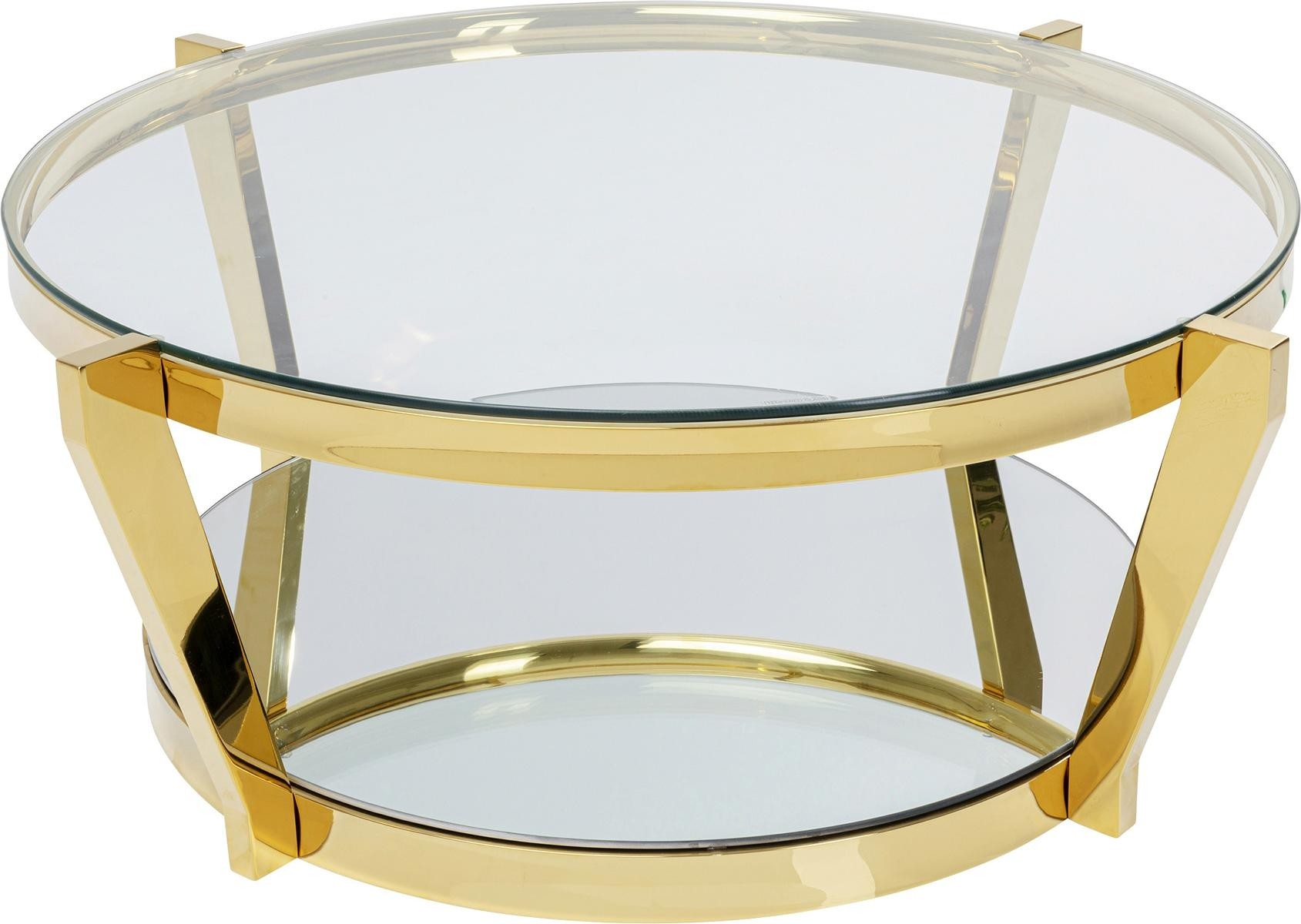 Kare Design Monocolo Ronde Salontafel Diameter 90 Cm - Glazen Tafelblad - Goudkleurig Metaal