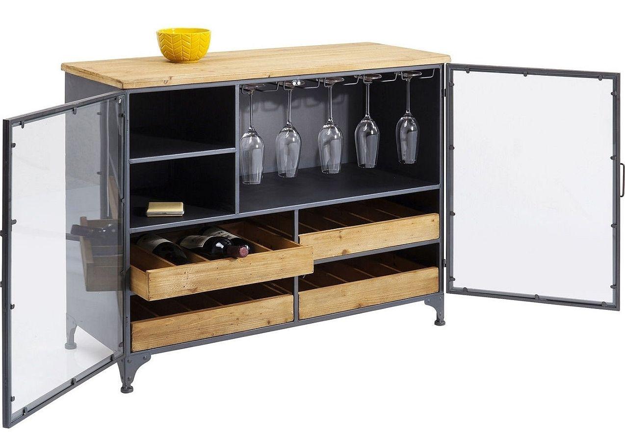 Kare Design Refugio Wijnkast 2-Deurs - 100x40x82 - Vintage Metaal