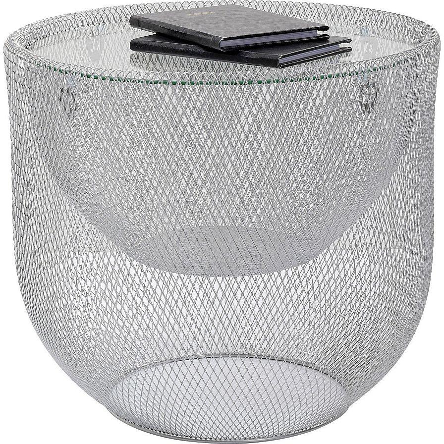 Kare Design Grid Salontafel -Ø50x46.5 Cm - Glazen Tafelblad - Zilver