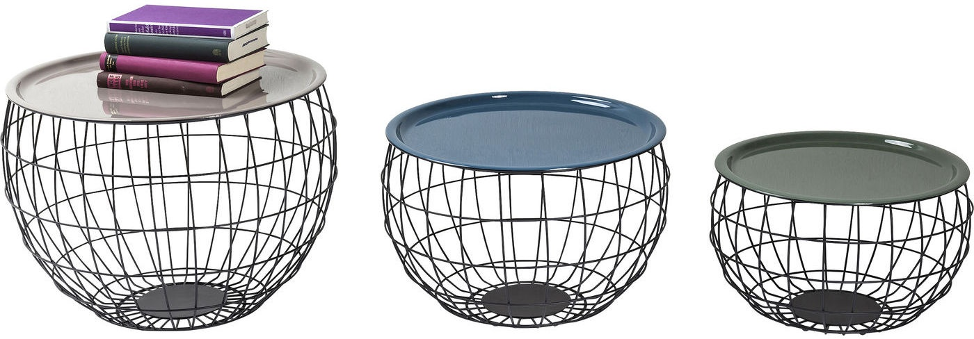 Kare Design Set 3 Salontafels La Costa Wire - Metaal - Multikleur