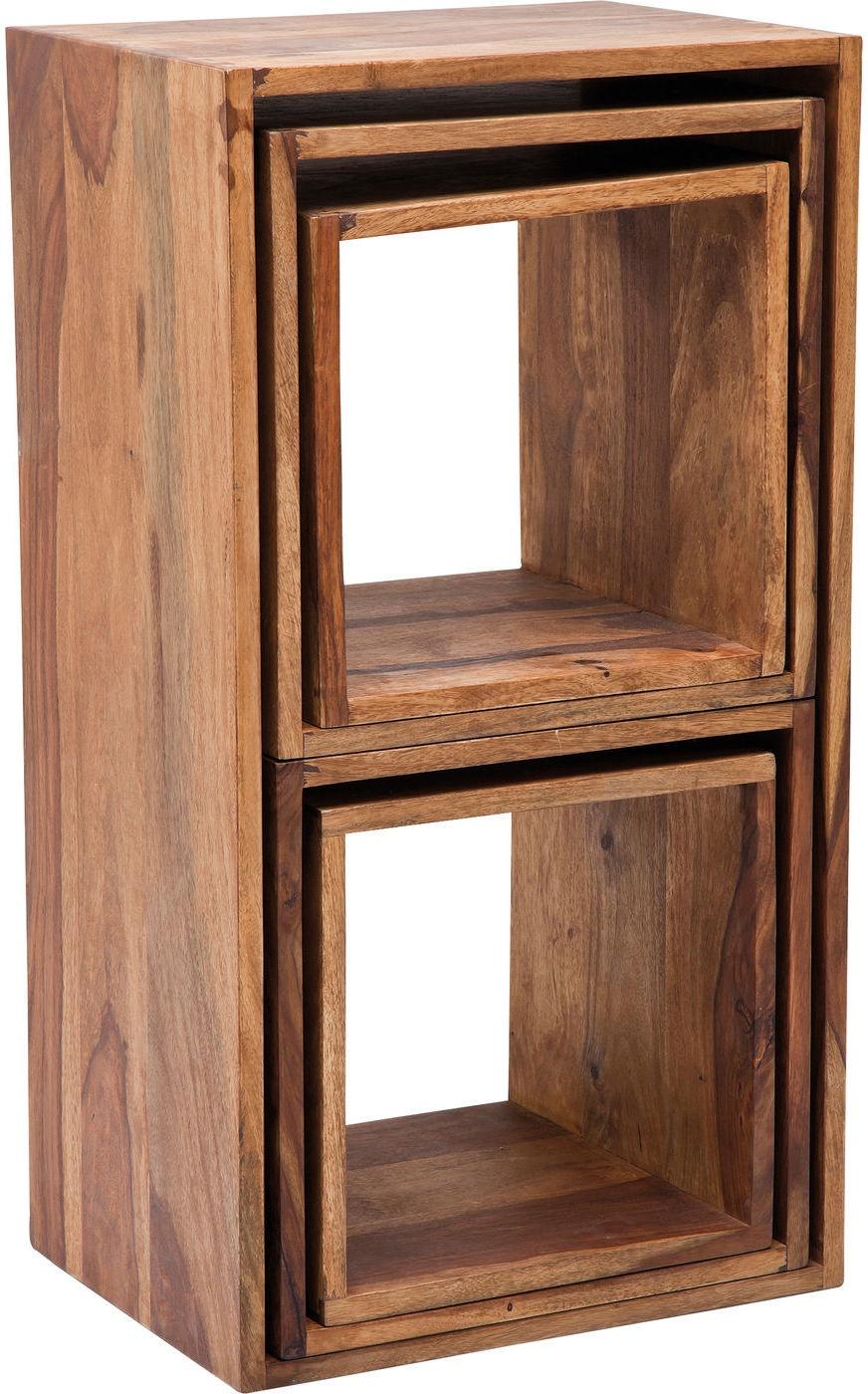 Kare Design Set 5 Bijzettafels Authentico Cube - Sheesham Hout