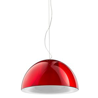 Pedrali Hanglamp L002S/BA -Ø52 Cm - Wit/Rood Transparant
