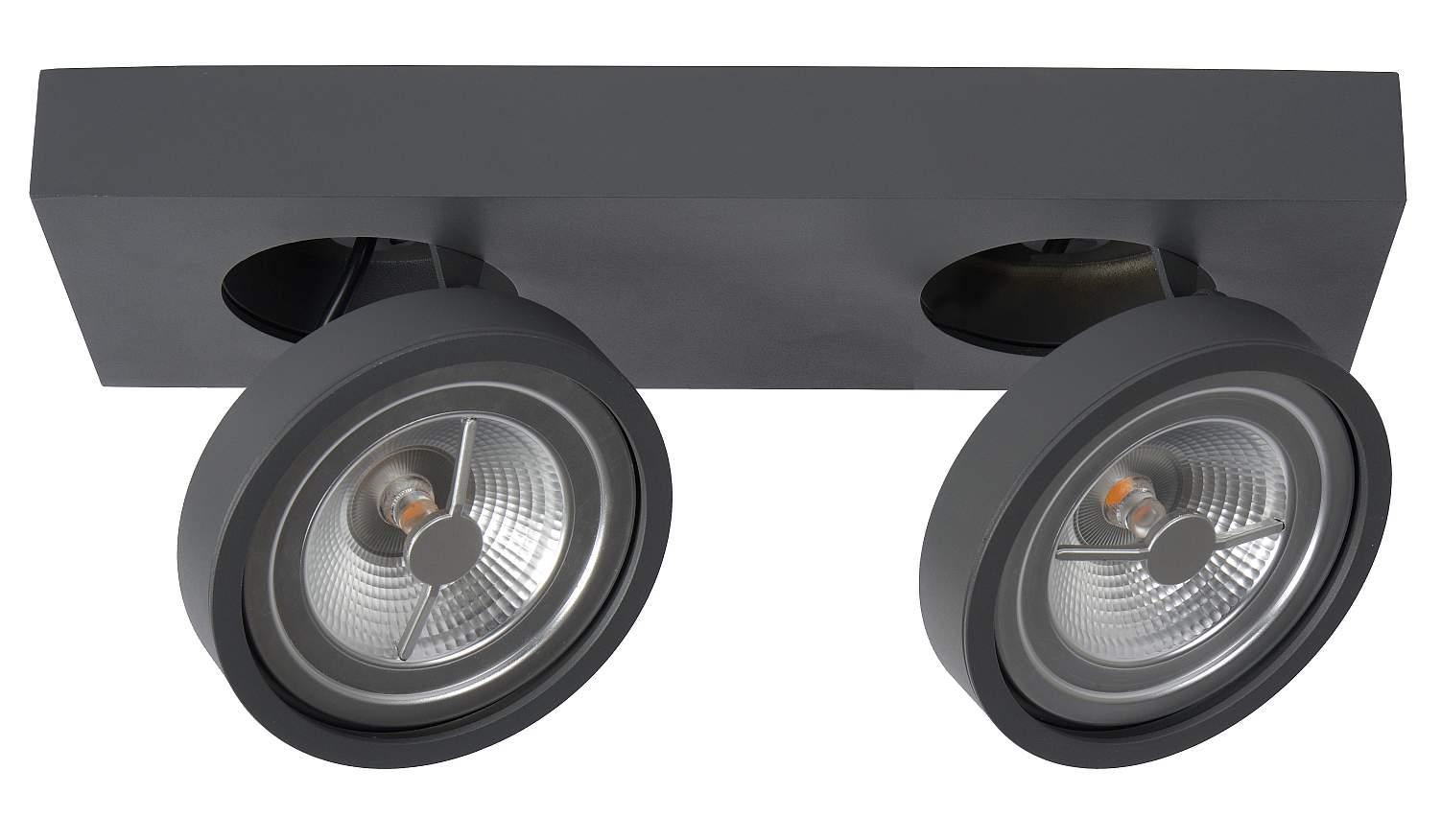 Lucide NENAD AR111 - Plafondspot LED Dimbaar - 2x10W 2700K - Grijs