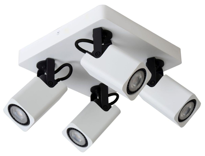 Lucide Plafondspot Roax - 4 Lichts - Dimbare LED GU10 - Mat Wit