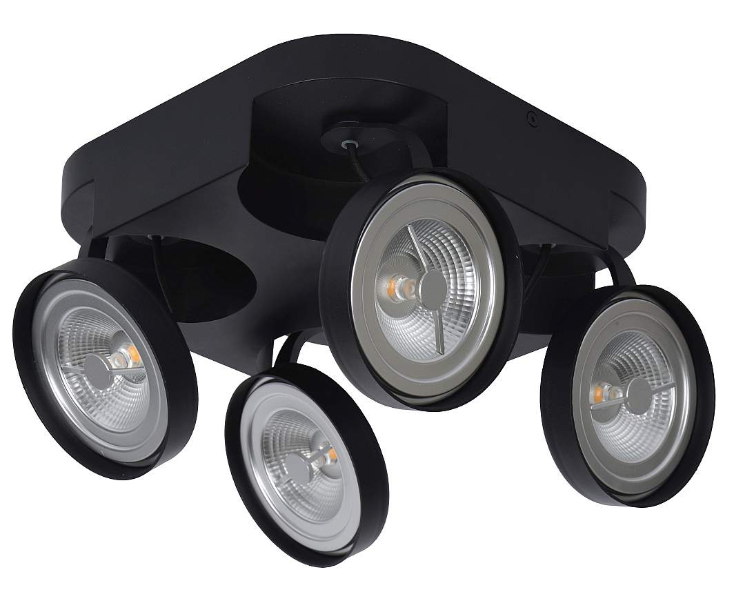 Lucide Versum AR111 Plafondspot LED Dimbaar - 4x10W 2700K - Zwart