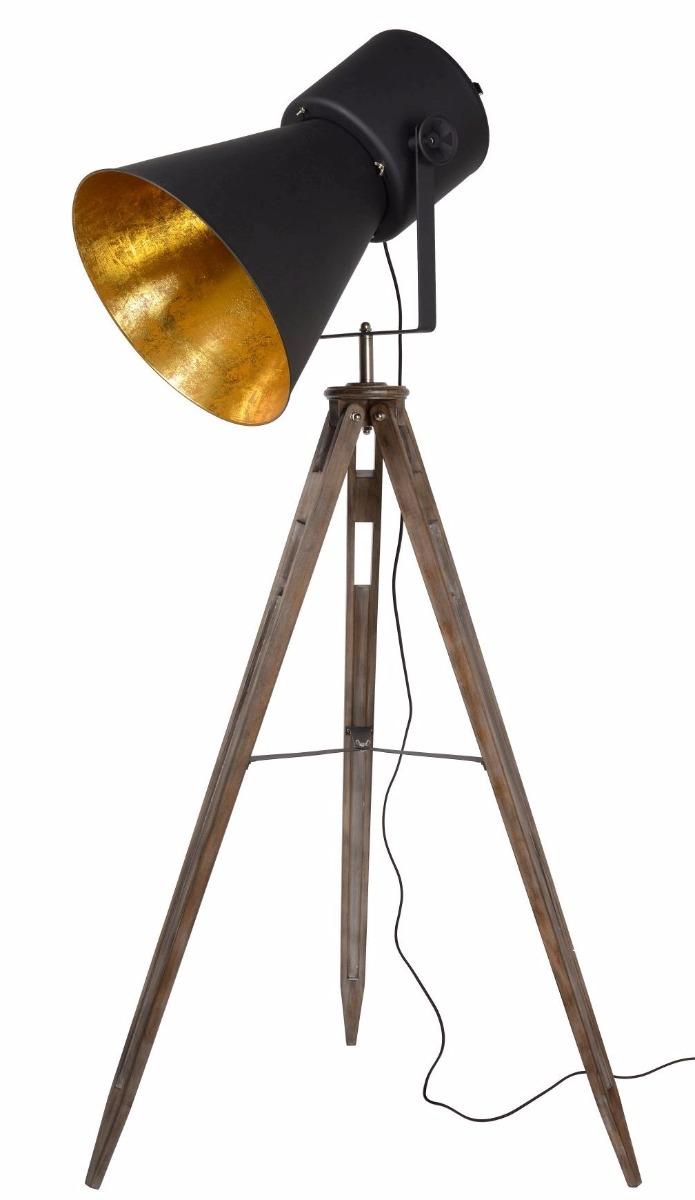 Lucide Vloerlamp Marlowe - Houten Poten - Zwarte Metalen Lampenkap
