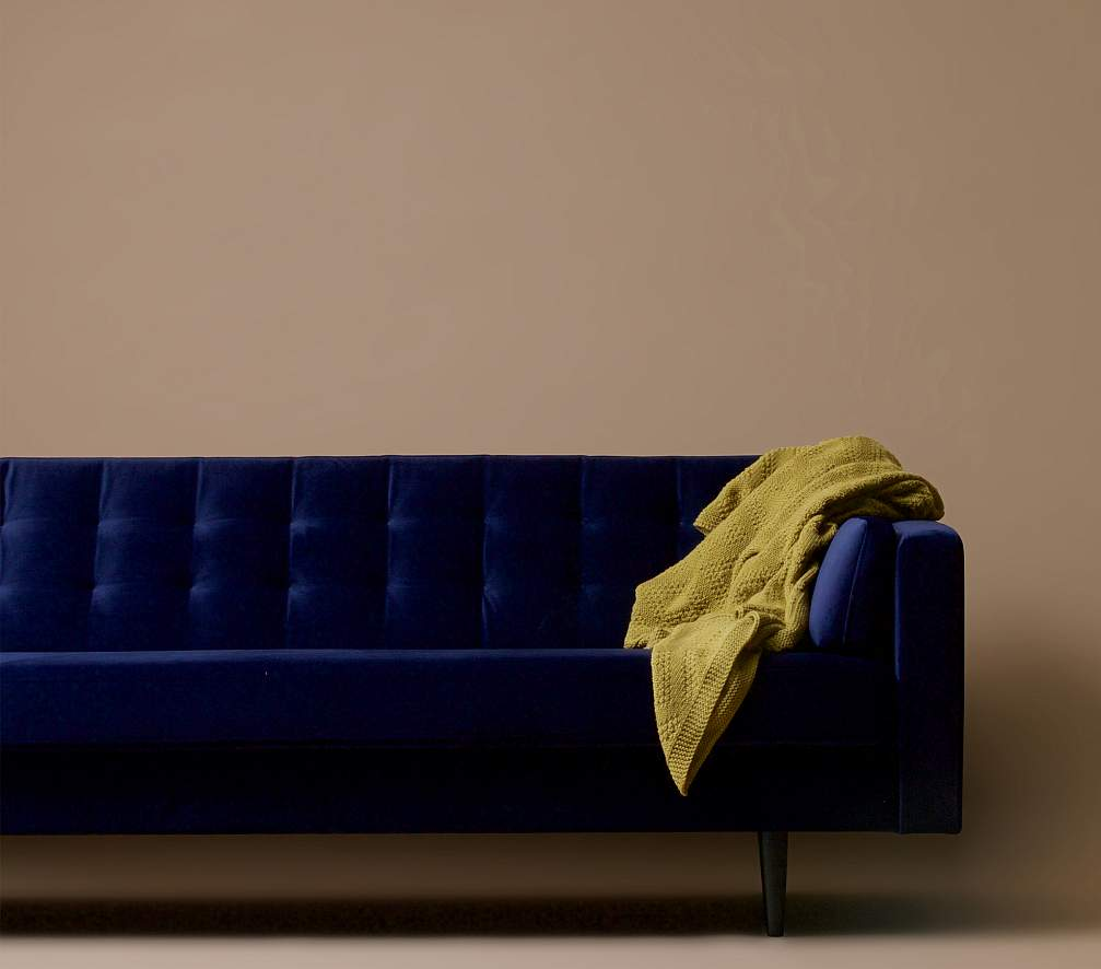 WOOOD Livia Bank 3-Zits - Fluweel Nachtblauw - Zwarte Houten Poten